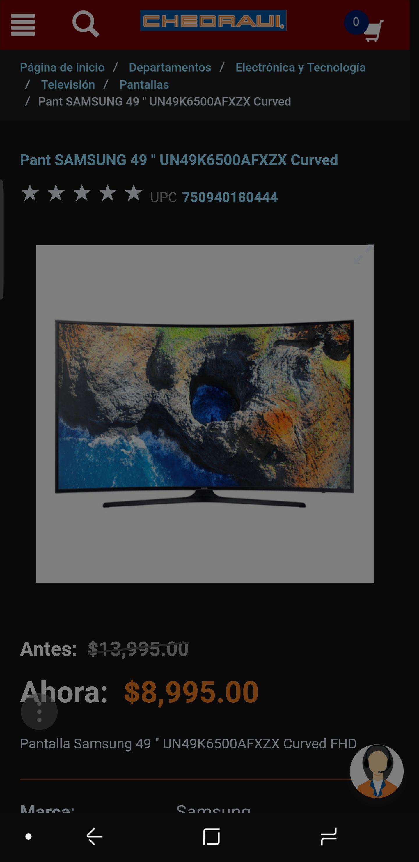 "Chedraui: Samsung 49"" Smart TV Curva FHD UN49K6500AFXZX"