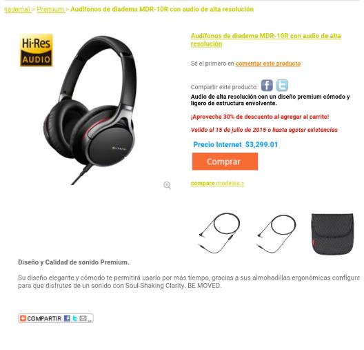 Tienda Sony Online 30% de descuento en audifonos hi-res