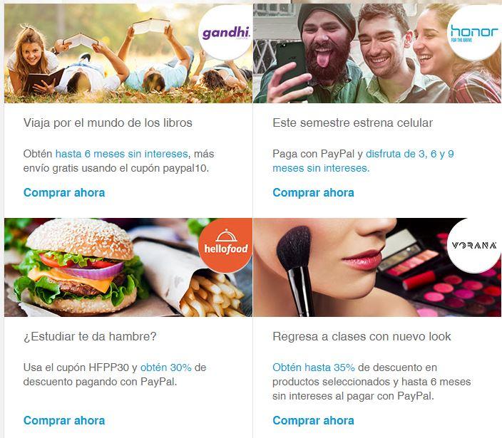 Cupones Paypal Para Gandhi (Envío Gratis y MSI) y HelloFood (30%)