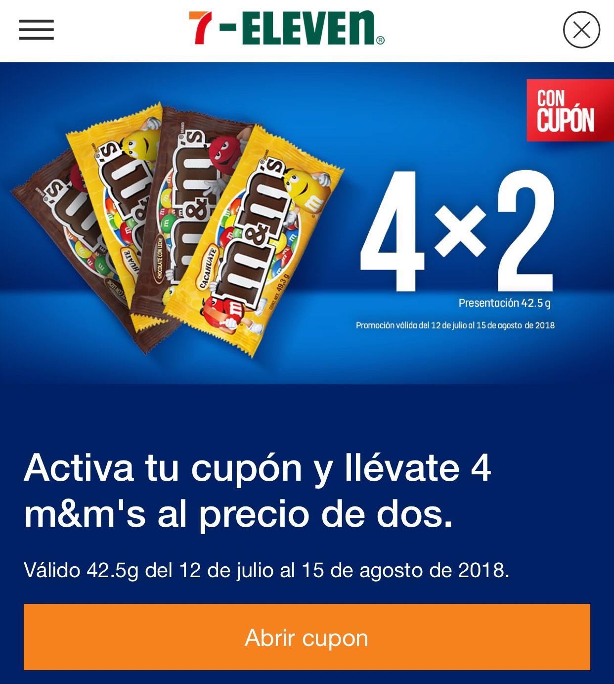 7-Eleven: m&m's 4x2 con cupón (desde la app)