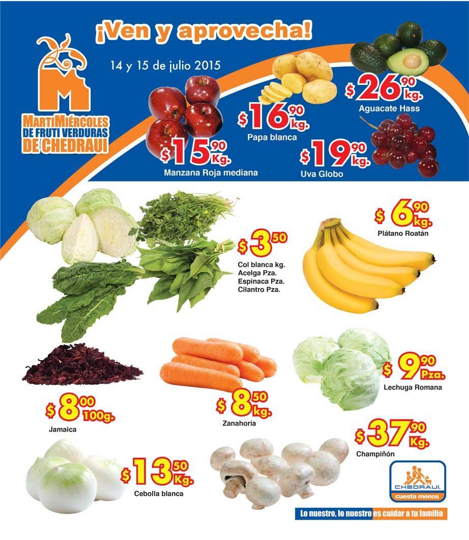 Ofertas de frutas y verduras en Chedraui 14 y 15 de junio
