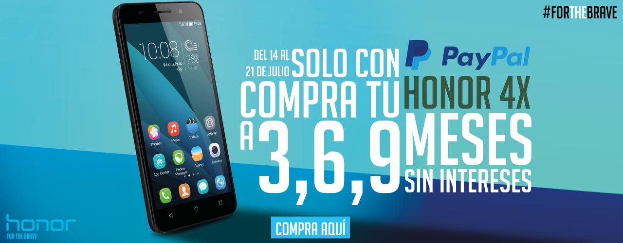 Honor.mx: Smartphone Honor 4X $2999 a 3, 6 y 9 MSI con Paypal. + Envío gratis