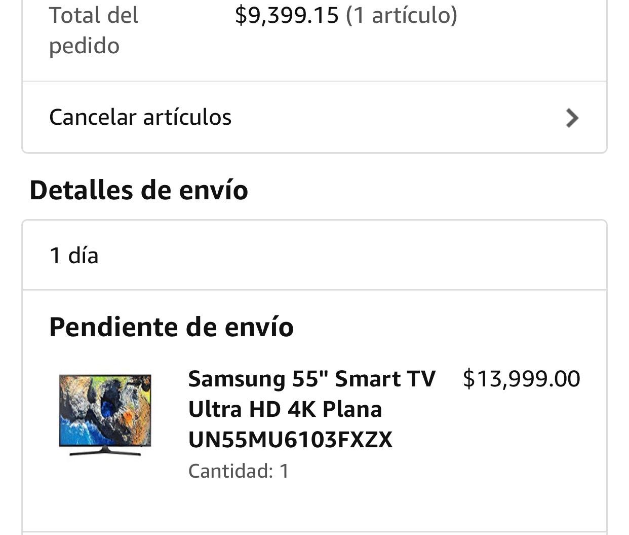 "Amazon: Samsung 55"" Smart TV Ultra HD 4K Plana (Pagando con Bancomer)"