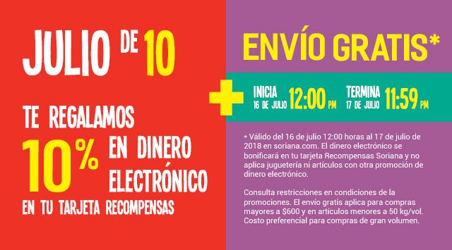 Julio Regalado 2018 en Soriana.com: 10% en dinero electrónico + envío gratis 16 y 17 Julio