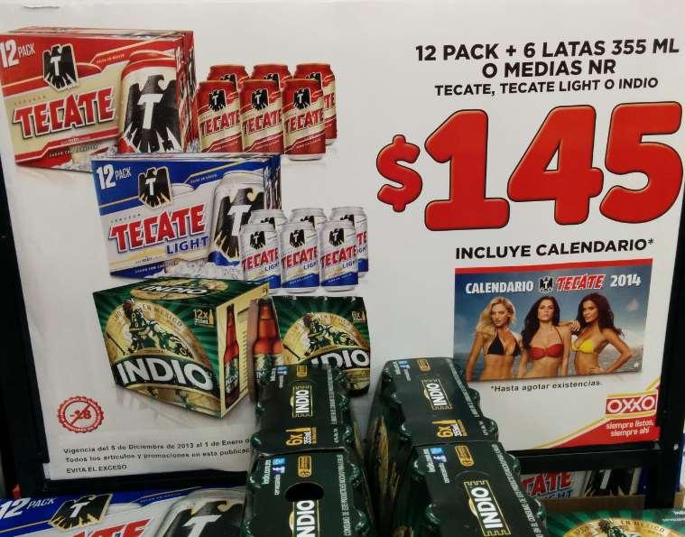 Oxxo: 18 cervezas Tecate o Indio más calendario $145