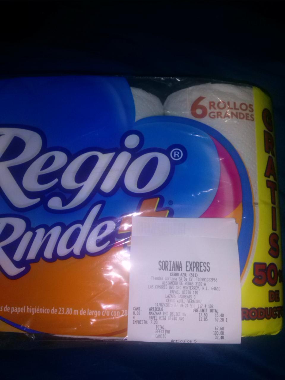 Soriana Express: papel higiénico regio rinde +