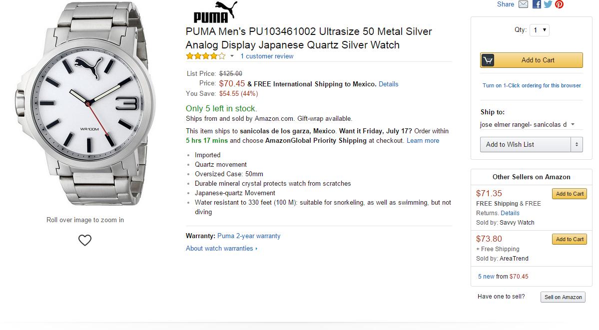 Amazon: reloj PUMA Men's PU103461002 Ultrasize $1,176