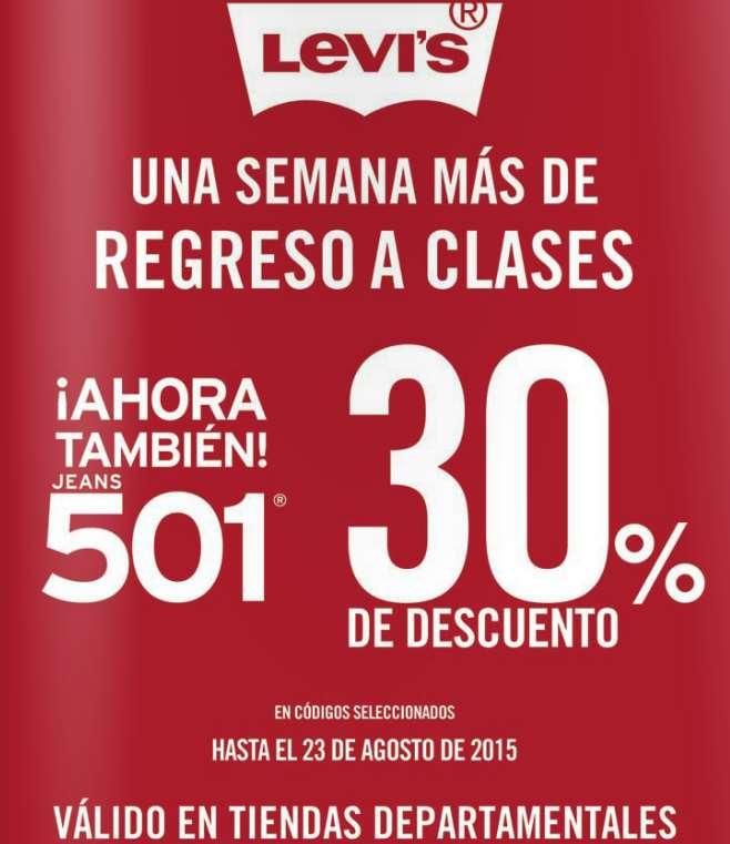 Levi's: promoción de regreso a clases 2015 (30% de descuento ó 3x2)
