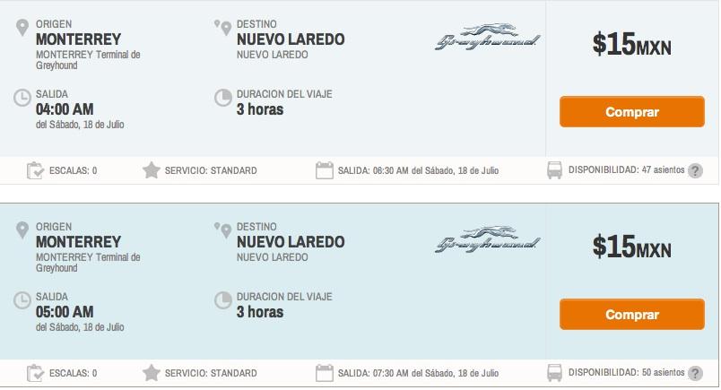 Greyhound: viaje NUEVO LAREDO - MONTERREY 15 pesos