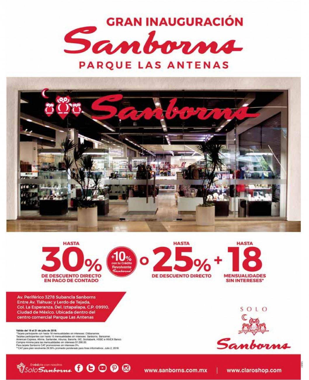Sanborns Parque Las Antenas CDMX: Hoy Gran Apertura: Hasta 30% desc. directo + 10% con crédito revolvente Sanborns ó hasta 25% desc. directo + hasta 18 MSI