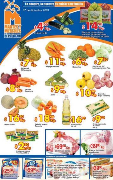 Ofertas de frutas y verduras en Chedraui 17 y 18 de diciembre