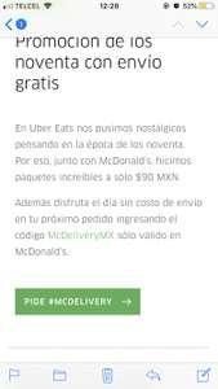Uber Eats: Envío gratis en McDonalds