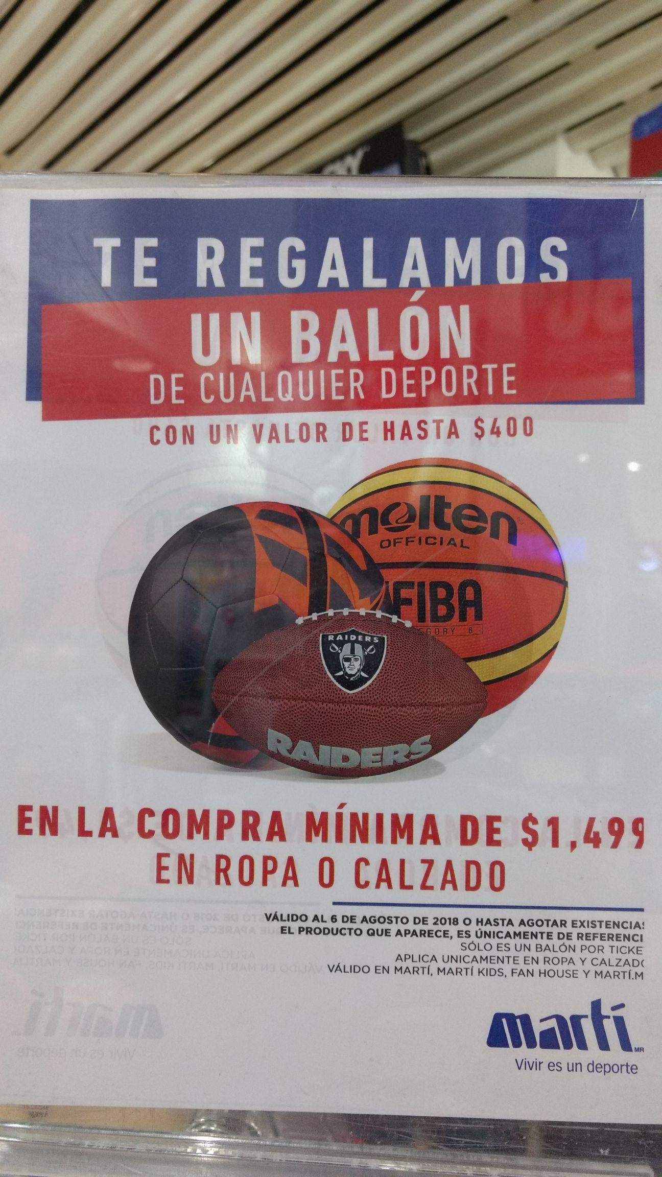 Martí: Balón gratis de cualquier deporte no mayor a 400 pesos en compra mínima de 1499