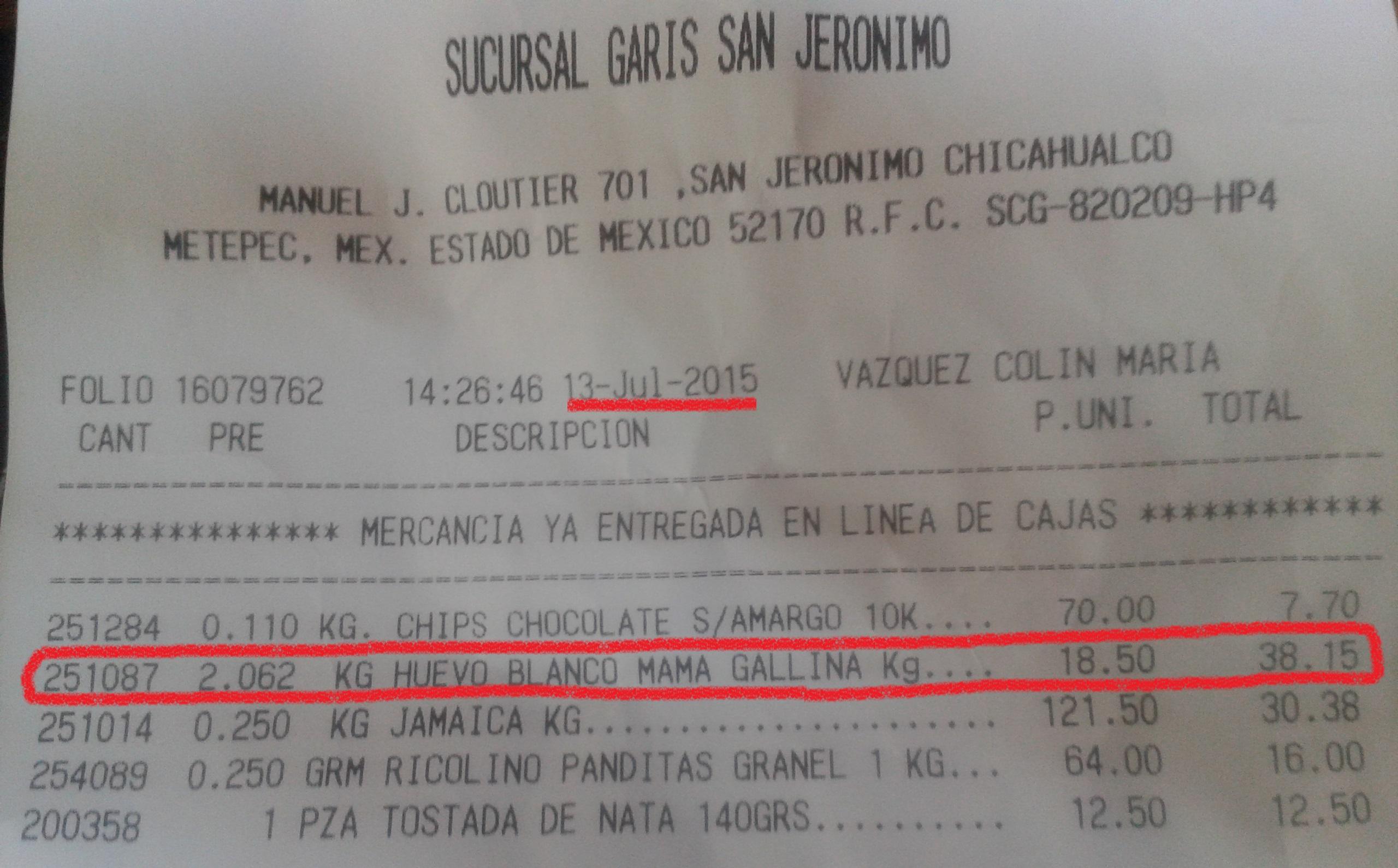 TIENDAS GARIS: KG DE HUEVO BLANCO/ROJO $18.50