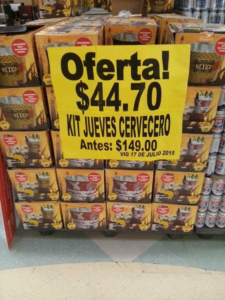 Soriana: Kit cervecero de vasos, ceniceros y cubeta $45