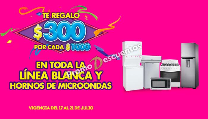 Ofertas de Julio Regalado 2015 en La Comer: $300 de descuento por cada $1,000 de compra en Linea Blanca y Microondas