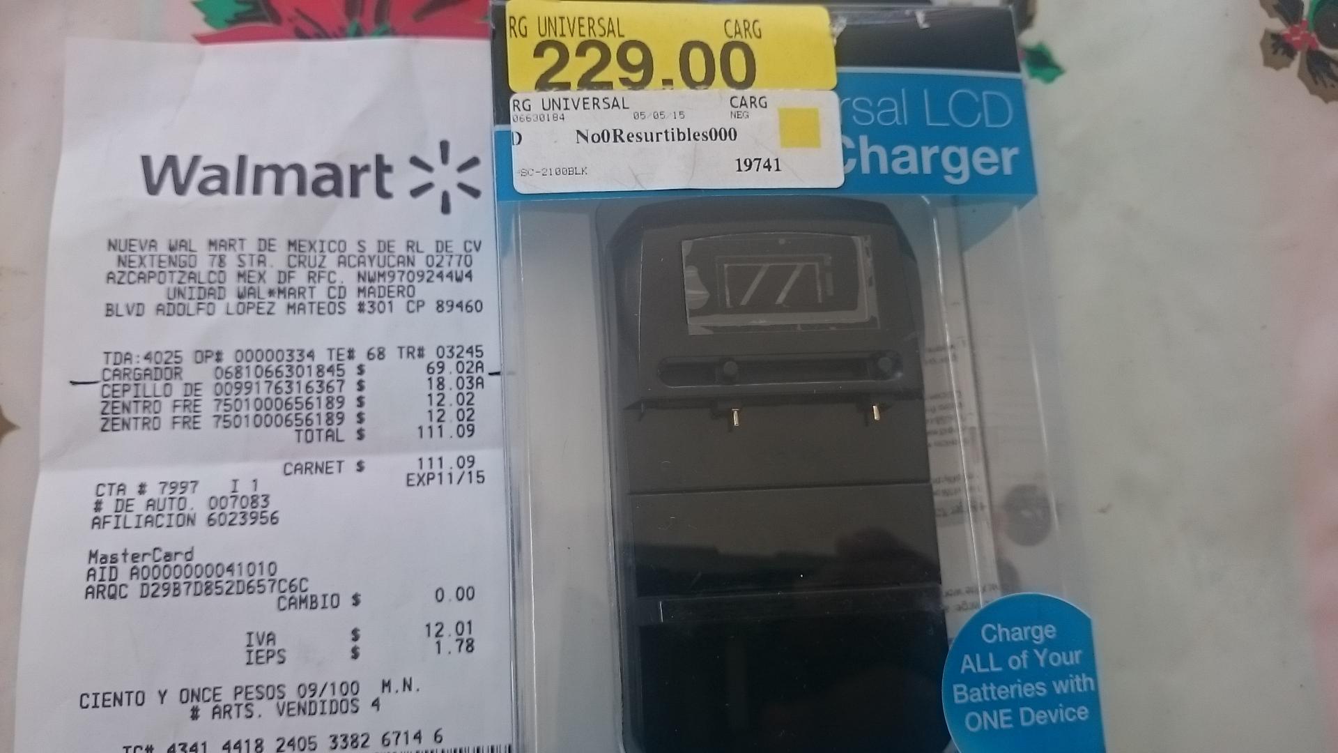 Walmart: cargador universal $69.02