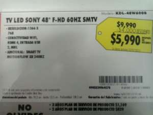 "Best Buy: pantalla Sony de 48"" F-HD a $5,990"