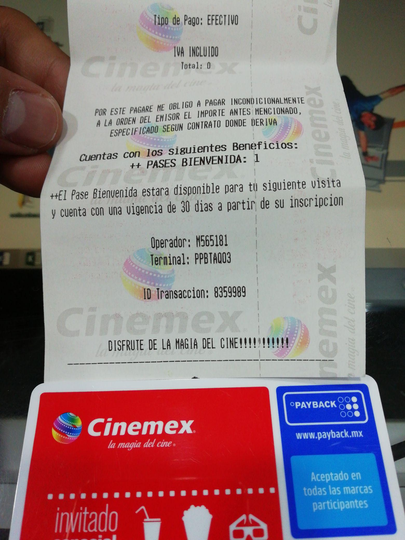 Cinemex: Monedero Payback y entrada gratis