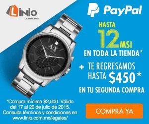Linio: 12 meses sin intereses y $450 de cashback con PayPal (mín $2,000)