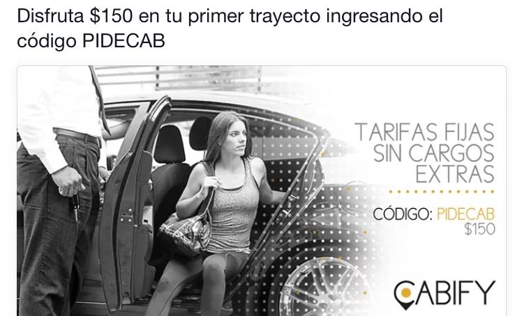 Cabify: $150 pesos gratis en tu primer trayecto CODIGO: PIDECAB