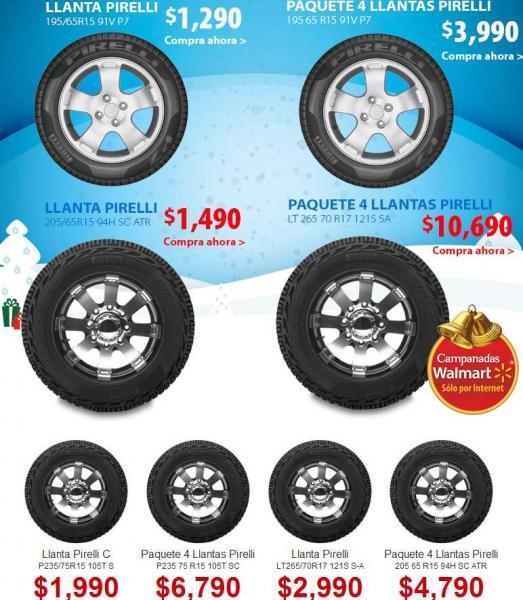 Campanadas Walmart diciembre 16: llantas Pirelli