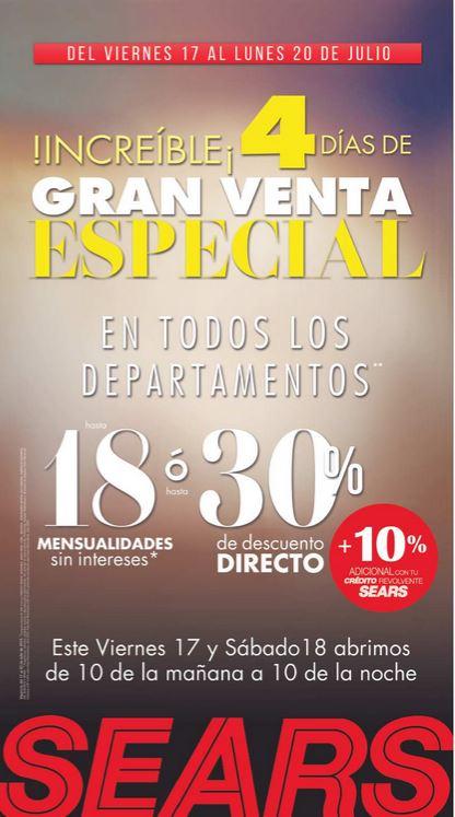 Venta Especial Sears: hasta 30% de descuento o hasta 18 MSI