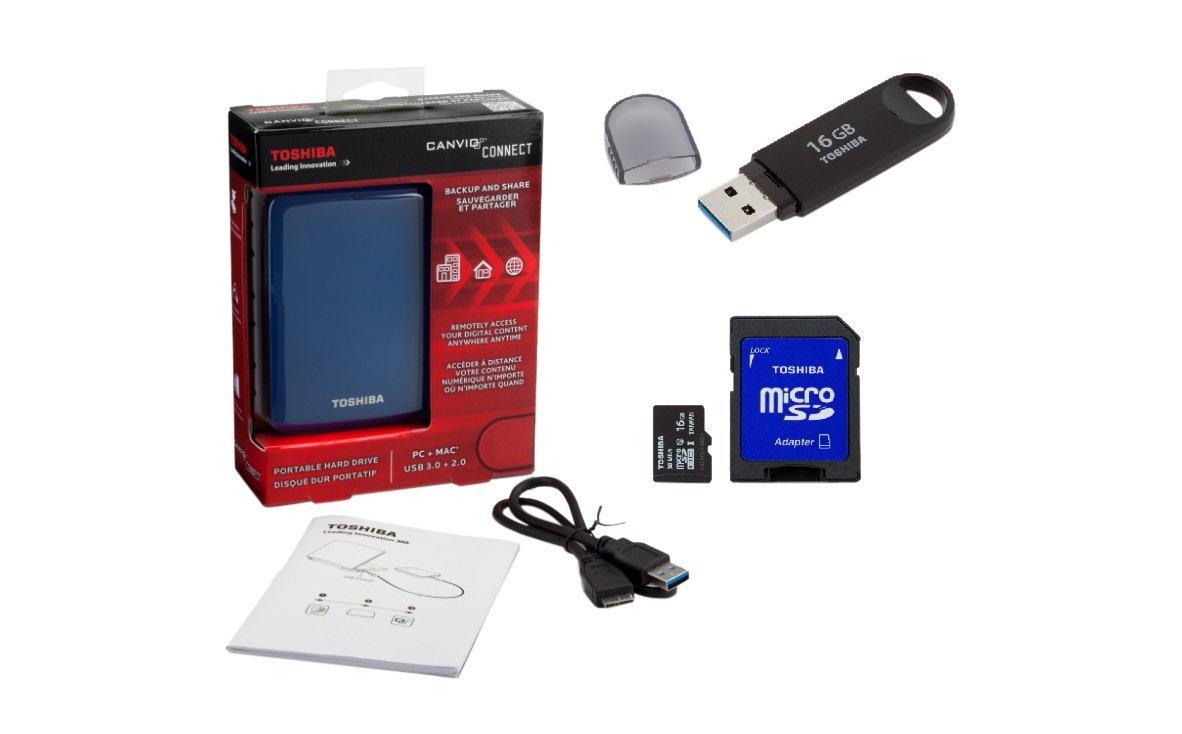 Amazon:Paquete Toshiba Disco Externo 1TB + 16GB USB + MicroSD+ Nube