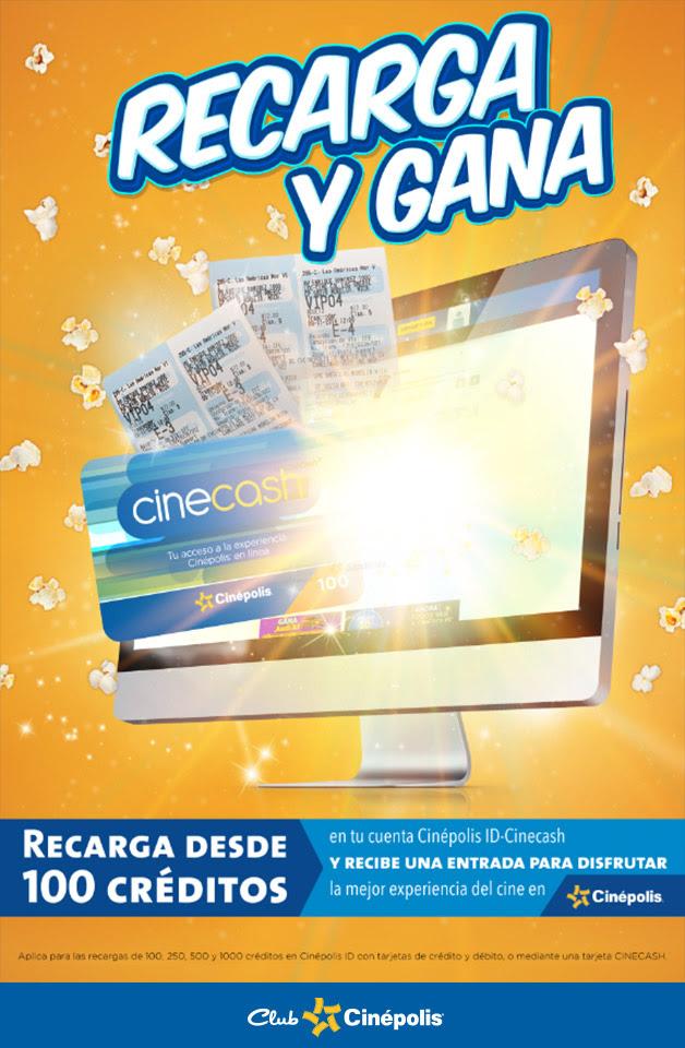 Entrada gratis a Cinepolis recargando con CineCash