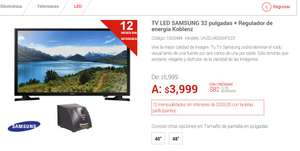 "Elektra: TV LED SAMSUNG 32"" + Regulador de energía Koblenz $3,749"