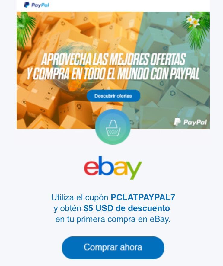 eBay Descuento de US$ 5 en la primera compra