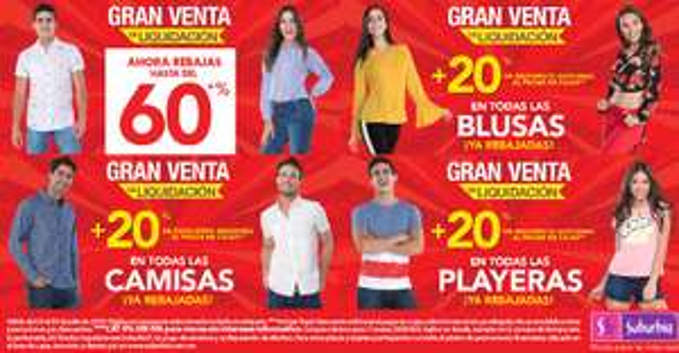 Suburbia: Rebajas hasta del 60% + 20% adicional al pagar en cajas en todas las blusas, camisas y playeras ya rebajadas