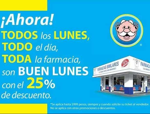Farmacias Similares: 25% de descuento todos los lunes