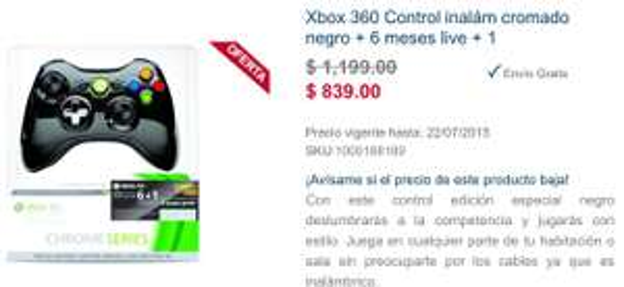 Best Buy: control Xbox 360 black chrome + 7 meses gold