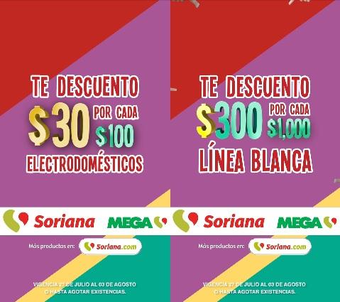 Julio Regalado 2018 en Soriana: $30 de descuento por cada $100 en electrodomésticos... $300 de descuento por cada $1,000 en línea blanca