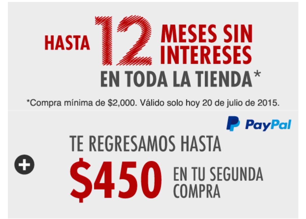 Linio y Paypal: Cashback de 450 pesos y 12 meses sin intereses