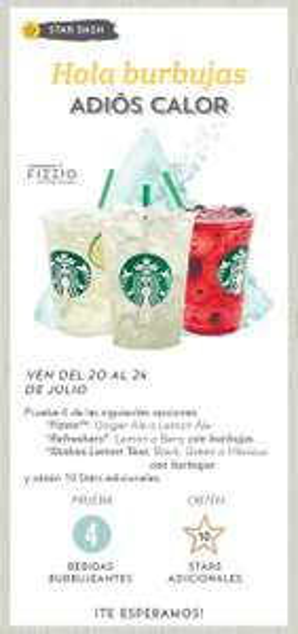Starbucks: 10 stars adicionales en la compra de 4 bebidas burbujeantes