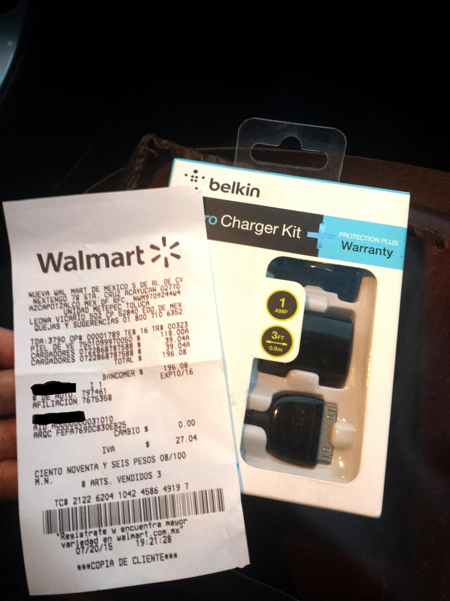 Walmart - Cargador de Auto y de pared marca Belkin a 39.04