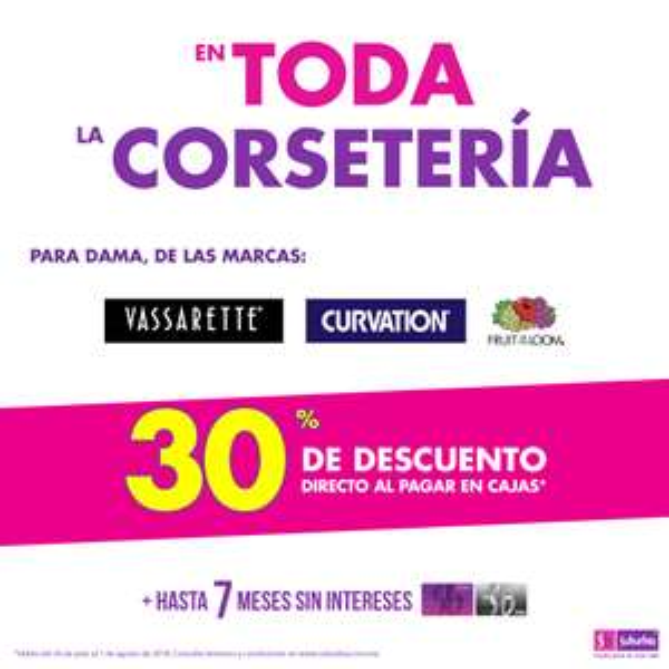 Suburbia: 30% de descuento en toda la corsetería para dama Vassarette, Curvation y Fruit of the Loom + 7 MSI