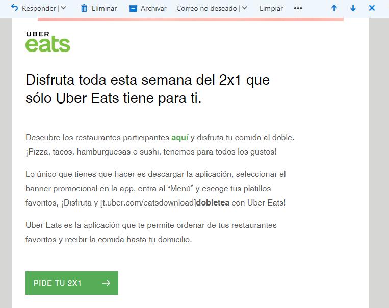 Uber Eats: 2x1 en algunos restaurantes