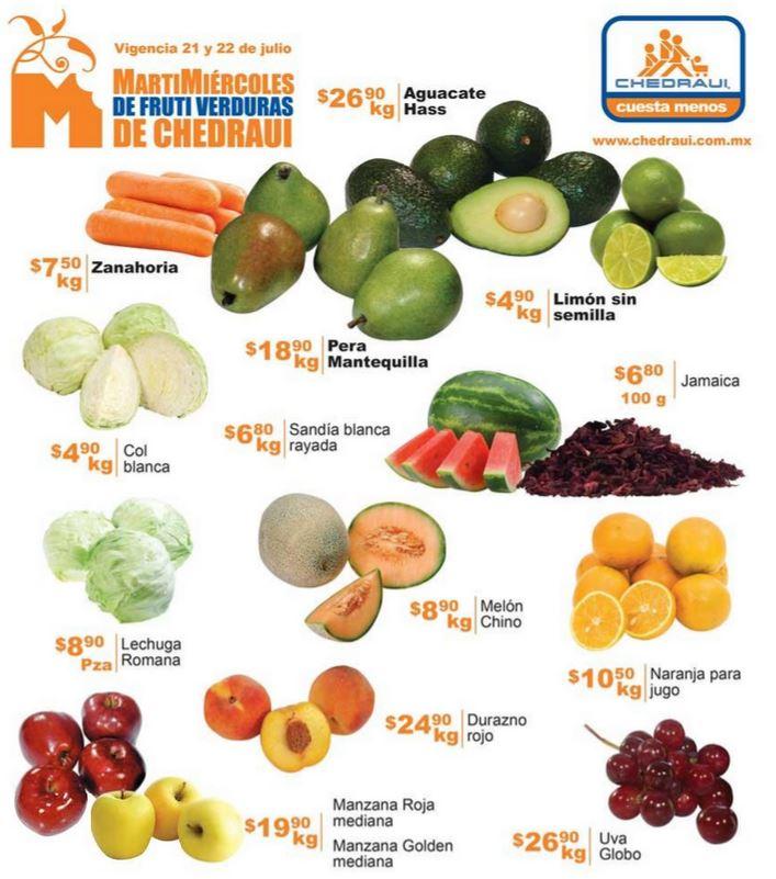 Oferta de frutas y verduras en Chedraui 21 y 22 de julio