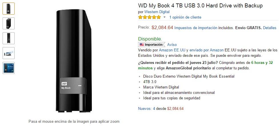 Amazon: disco duro WD My Book 4 TB USB 3.0 Hard Drive $2,085