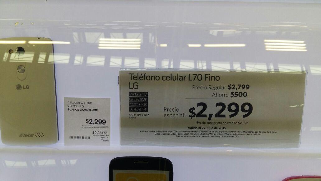 Sam's Club: celular LG L70 Bello $2,299