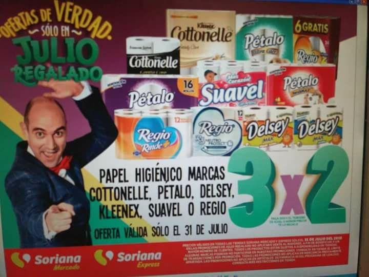 Julio Regalado 2018 en Soriana: 3x2 en Pañales y Papel Higienico