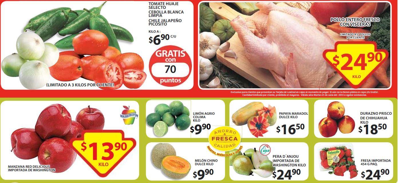 Ofertas de frutas y verduras en Soriana julio 21