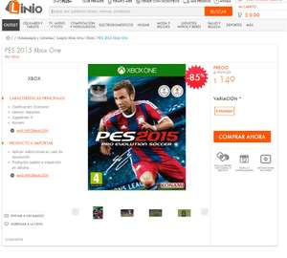 Linio: PES 2015 para Xbox One $149