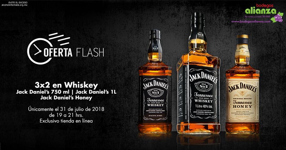 Bodegas Alianza: Oferta Flash Tienda en Línea 31 Julio de 19 a 21 hr: 3 x 2 en Whiskey Jack Daniel's 750 ml, Jack Daniel's 1 L y Jack Daniel's Honey