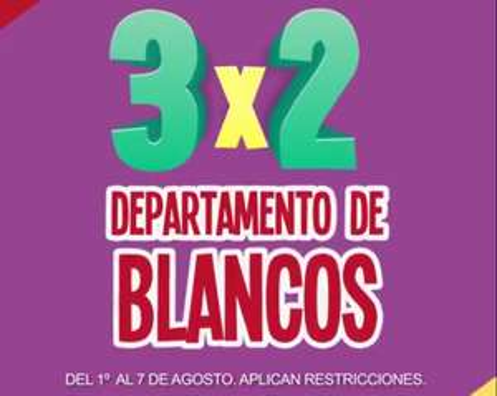 Julio Regalado 2018 en Soriana: 3 x 2 en todo el departamento de blancos