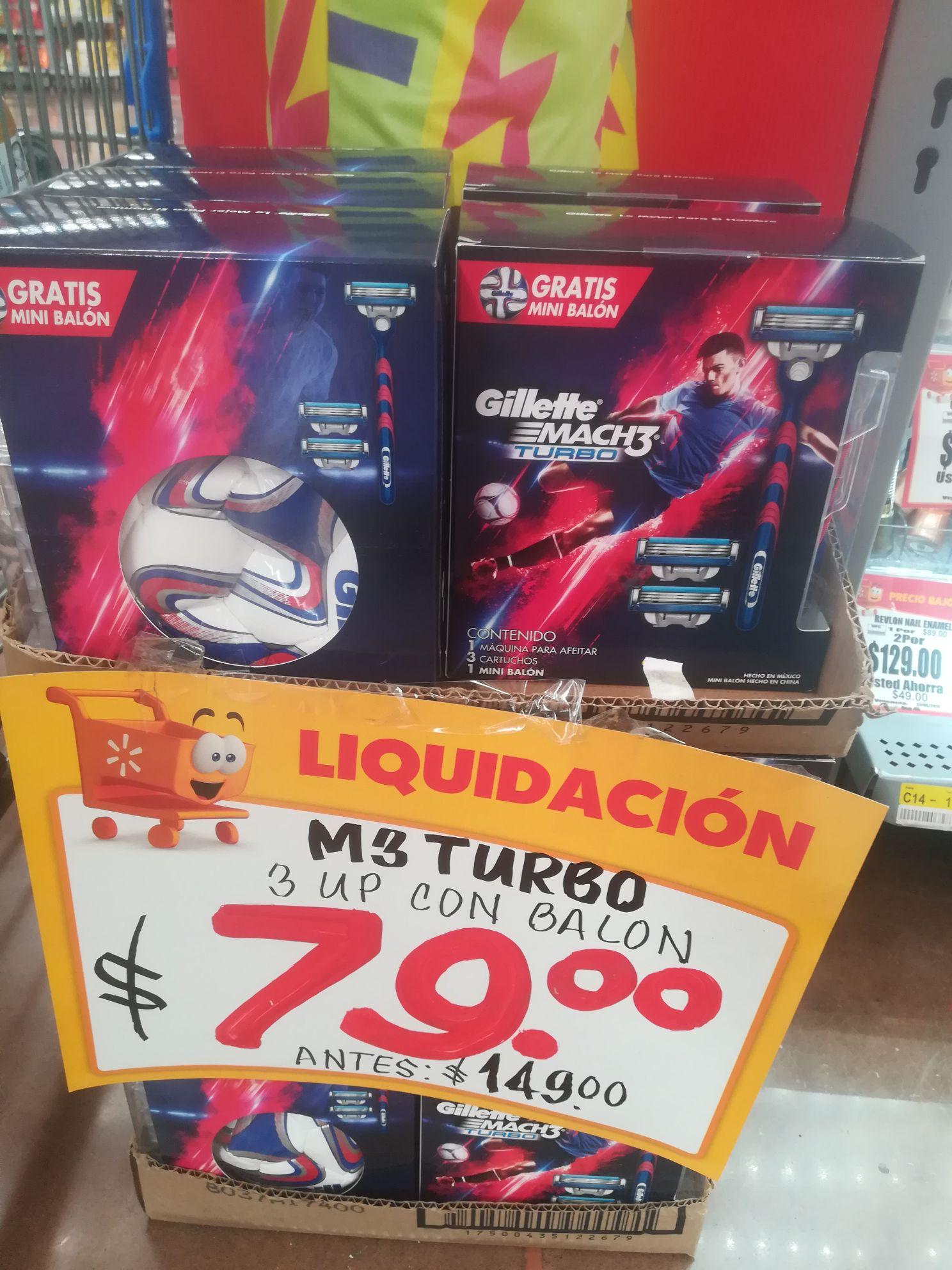 Walmart Tecnologíco Colima: Gillette Mach 3 turbo máquina de afeitar más 3 cartuchos y mini balon s