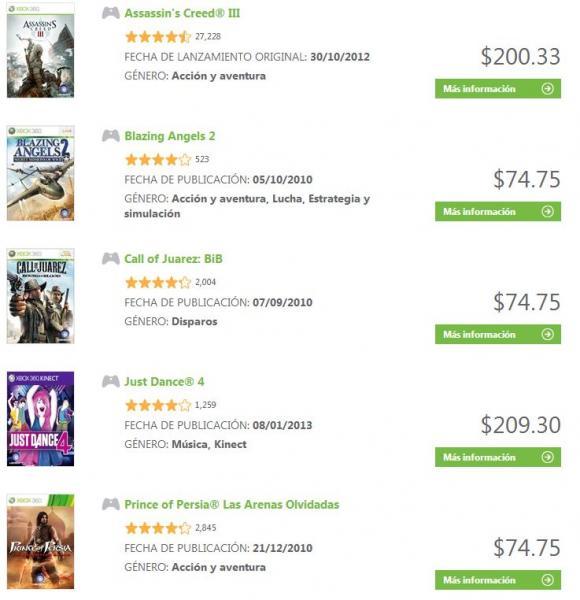 Xbox Live: Assassin's Creed 3 $200, Just Dance 4 $209, Scott Pilgrim $34 y más
